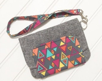 WEEKEND SALE - Fresh n Trendy Zipper Wallet   - Essex linen in charcoal with washi triangle accent