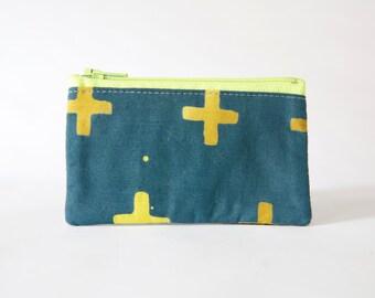Small Zipper Pouch, Batik X Fabric, Coin Purse, Card Wallet, Gadget Case, Blue and Green, Business Card Holder, Ready to ship, Gift Idea