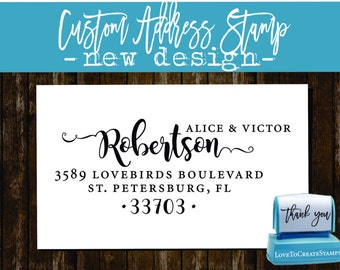 Calligraphy Handwriting Script Custom Return Address Stamp - Personalized SELF INKING Something Blue Wedding Stationery Stamp - Style 1162P