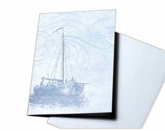 Blank Greeting Card with Sailing Boat