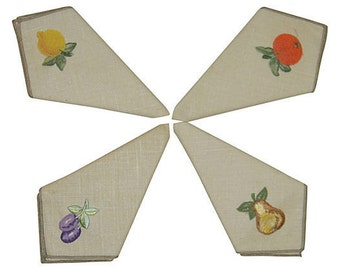 Vintage Embroidered Napkins Set of 4 Colorful Fruit MINT