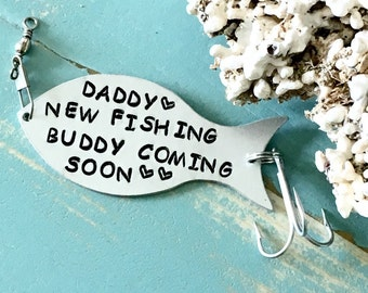 Fishing Lure Personalized, Hand Stamped Fishing Gift, New FISHING BUDDY Coming, Gift For Fisherman, New Daddy Gift, Pregnancy Announcement