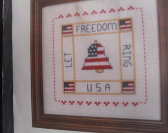 American Counted Cross Stitch Stitchery Stitch Let Freedom Ring USA Kit New