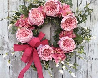 Spring Wreaths, Pink Spring Wreath, Pastel Wreath for Door, Pink Rose Wreath