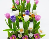 Tulip Polymer cLay Flowers Miniature garden, delicate and beautiful, 1 piece