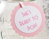 She's Ready to Pop baby shower tags - baby favor tags - baby girl - Set of 12