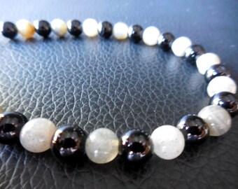 CHEROKEE ONYX n Labradorite 8.5 Bracelet N Sterling Silver~Grounding & Good Energy Luck!!!