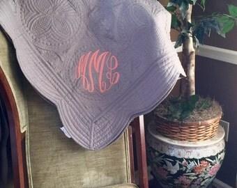Monogrammed Throw Quilt - Anniversary Gift, Personalized, birthday, mom, Christmas, graduation