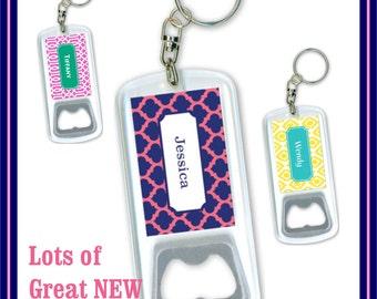 Personalized Bottle Opener Keychain - Monogram - Drink Opener, Gift, BIrthday, College, Sorority