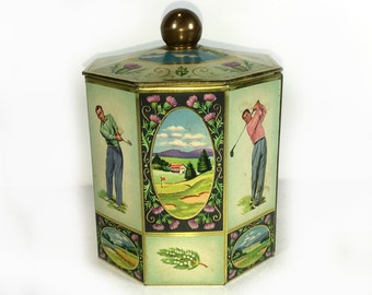 """Vintage Eight Sided Cream Tin, Golf Theme, Brass Lid Knob, Scottish Thistles, """"MacGregor, The Greatest Name in Golf"""""""