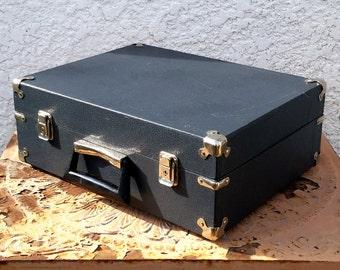 Vintage Dark Grey Travel/Storage Case - Padded Interior, Silver Corner Protectors, Original Key!