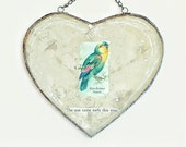 the sun came early - antiqued mirror heart collage with chain for hanging on wall or window