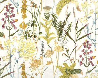 "Bright Botanical Window Curtains, Fern Drapery Panels, Natural Floral Curtains, Leaf Print Drapes, Custom Rod Pocket, One Pair 50""W"