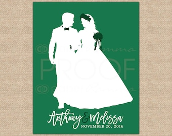 Custom Wedding Art, Silhouette Art, Newlywed Gift, Anniversary Gift, First Anniversary Gift, Unique Gifts for Him // W-G16-1PS AA3