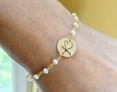 2-DAY 20% OFF SALE Script Font Initial Bracelet, Pearl bracelet, Monogram bracelet, Id bracelet, bridesmaid gift, Letter charm bracelet, Fan