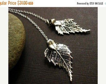 2-DAY 20% OFF SALE Birch Leaf Necklace, lariat neckalce, Y-necklace, oxidized Sterling Silver, real leaf jewelry, fall winter jewelry