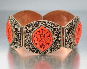 Chinese Antique Cinnabar Bracelet, Carved Cinnabar Flower Bracelet, Wide Art Deco Bracelet, Chinese Export, Antique Jewelry Cinnabar Jewelry