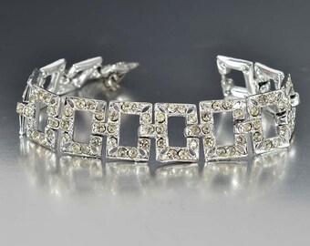 20% OFF Vintage Rhinestone Art Deco Bracelet, 1930s Wedding Jewelry, Rhodium Silver Antique Jewelry