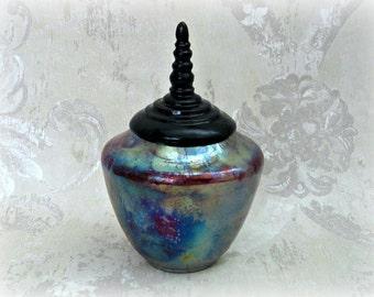 Decorative Raku Fired Pet Urn or Vase