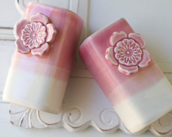 pink salt and pepper shakers