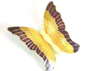 Butterfly Brooch Pin , Vintage Made In Germany 1950s Brooch , Collectable Butterfly , Cream Yellow Brown Butterfly Insect , Vintage Jewelry