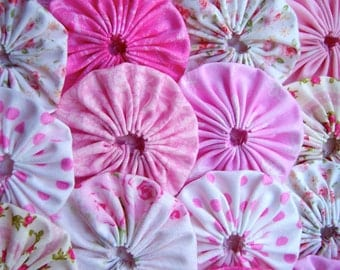 Fabric YoYo Applique 40 PINK Rose  2 Inch Headband Bobby Pin Barrette Hair Clip Trim