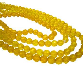 Yellow Quartz Beads, Faceted Round, Yellow Gemstone, SKU 4627