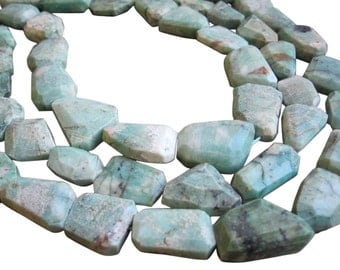 Chrysoprase Nuggets, Faceted Freeform Nuggets, Green Gemstone Beads, SKU 3059A