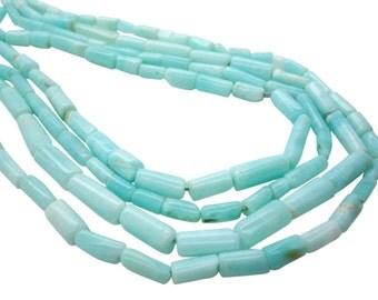 Peruvian Blue Opal Beads, Blue Opal Tubes, Cylinder or Tube Shape, SKU 5017