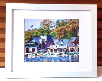 "Framed Philadelphia Archival 8x10 Print  ""Boathouse Row"" Mat and Frame Included Philadelphia scene art  Ready to Hang by Gwen Meyerson"