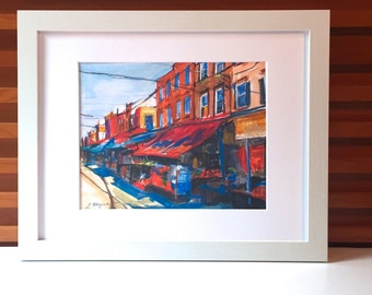 Framed Philadelphia Italian Market watercolor Print south philly White Wood or Black Woood Philly Cityscape Painting by Gwen Meyerson