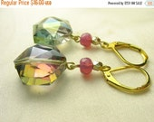 Rainbow glass earrings ... dazzling rainbow glass with pink and gold ... spectrum spectacular