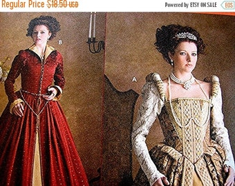 Sewing Pattern SALE Historical Womens Renaissance Elizabethan Costume Pattern Gown Dress and Coat Simplicity Costume Pattern  Misses Adult s