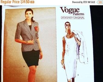 SALE 25% Off 1980s Vogue Designer Pattern Robert Burton Vogue Pattern size 8 10 12 UNCUT Sleeveless Sheath Dress & Jacket Pattern