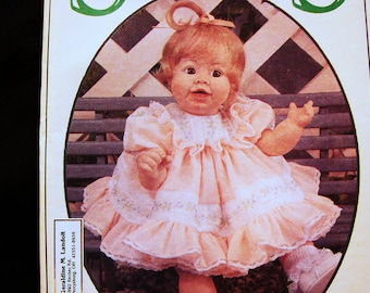Syndee's Crafts Syndee Doll Clothes Pattern UNCUT 10 inch, 16 inch, 21 inch Doll Dress Slip Pants Bonnet Sewing Pattern