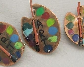 Copper Artist Palette Pin - Art Brooch - Art Palette Pin.