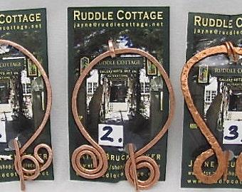 Copper Celtic Circle Penannular Brooch, Shawl Closure. Shawl Pin. Pure Copper Closures.