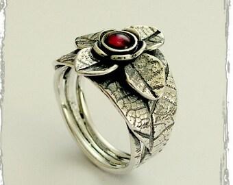 Garnet ring, gemstone ring, cocktail ring, statement ring, Sterling silver ring, gemstone ring, botanical ring, leaf ring - The dream R1695A