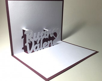 Custom Names Love Pop Up Card