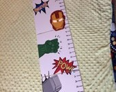 Foldable Childrens Growth Chart, Super Heros
