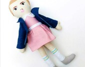 "Stranger Things Eleven 011 Art Doll 18"" Handmade Cloth Doll Character Figure, MADE TO ORDER"