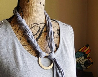 Necklace...Modern Style...Bohemian...Hand Made...Silver Ring and Cotton