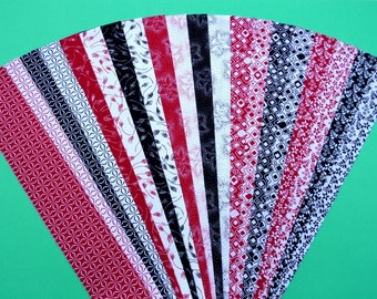Fabric Black White Red Cotton Jelly Roll Quilting Strip Pack Material Die Cut 20 Strips No Dups (sku JR120-BWRW)