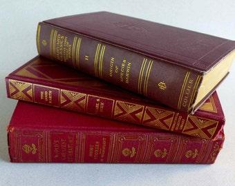 Vintage Red Burgundy Gold Books Set of 3, The Good Earth 1949, Origin of Species Darwin 1909, Guy De Maupassant Short Stories 1937