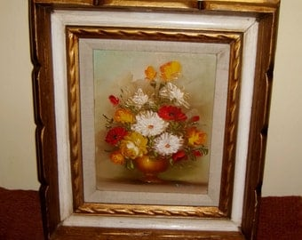 Floral Painting Frame Roses Poppies Asters Vase Flowers Carved Wooden Framing Vintage Chic Art