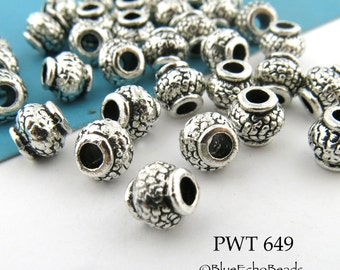 6mm Large Hole Pewter Beads Small Hub with Textured Pattern Antique Silver (PWT 649) 20 pcs BlueEchoBeads