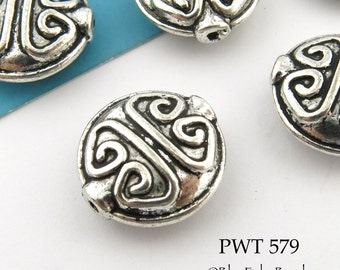 15mm Pewter Puffy Coin Beads with Raised Pattern (PWT 579) 6 pcs BlueEchoBeads