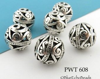 Large Hollow Bali Style Pewter Beads Antique Silver Bead (PWT 608) 3 pcs BlueEchoBeads