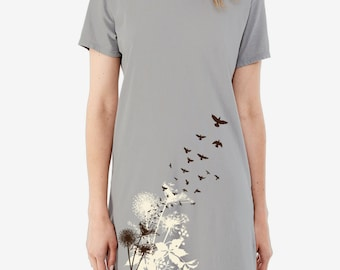 Dandelions and Birds in Flight Print, Women's T-shirt Dress, Tunic, Screen print dress
