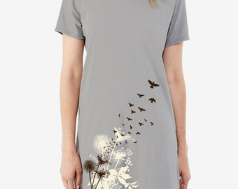 SALE - Dandelions and Birds in Flight Print, Women's T-shirt Dress, Tunic, Screen print dress
